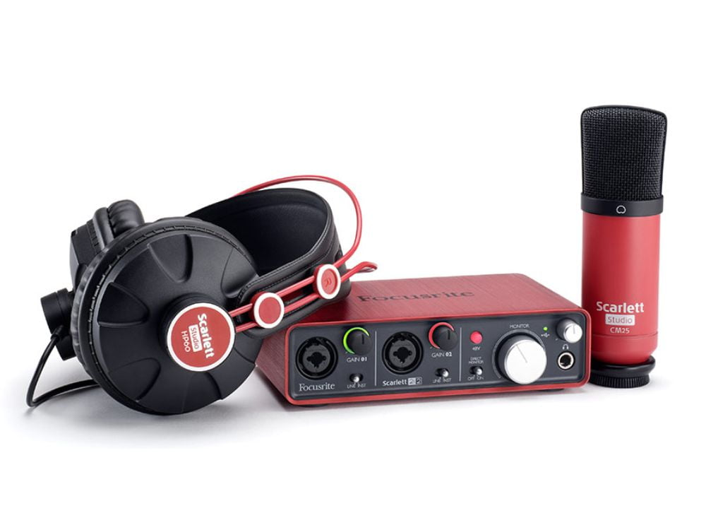 Interface de Áudio USB Focusrite Scartlett c/ Headphone e Microfone