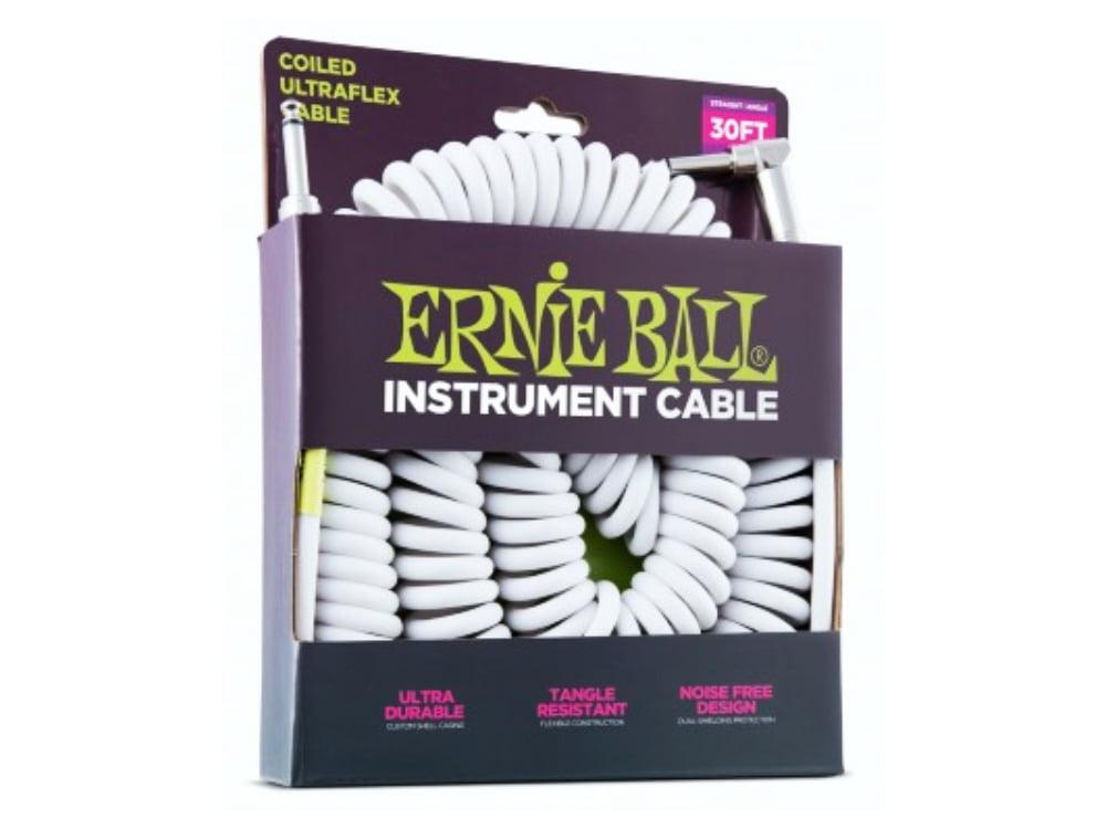 Cabo P10 L Espiral Ernie Ball Coil Cable P10s White 9,15m Ref. 6045