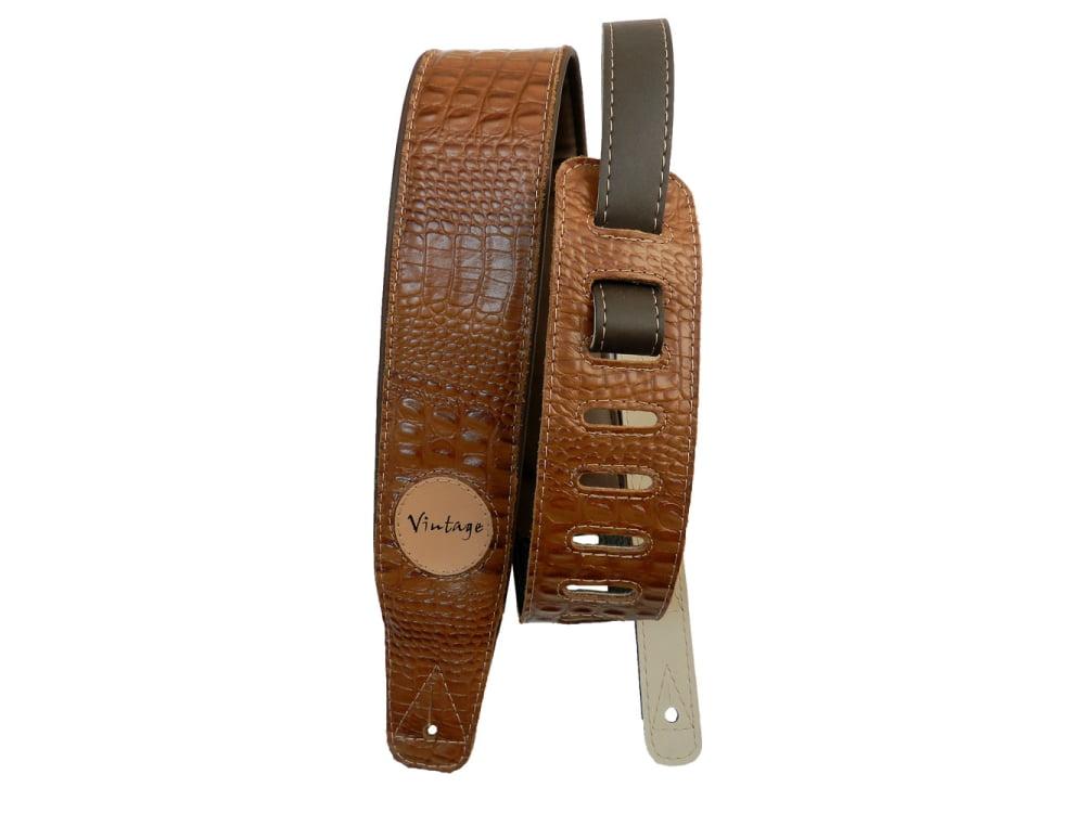 Correia 7,5 cm Basso Custom Shop Crocodile Marrom VT-SL-58